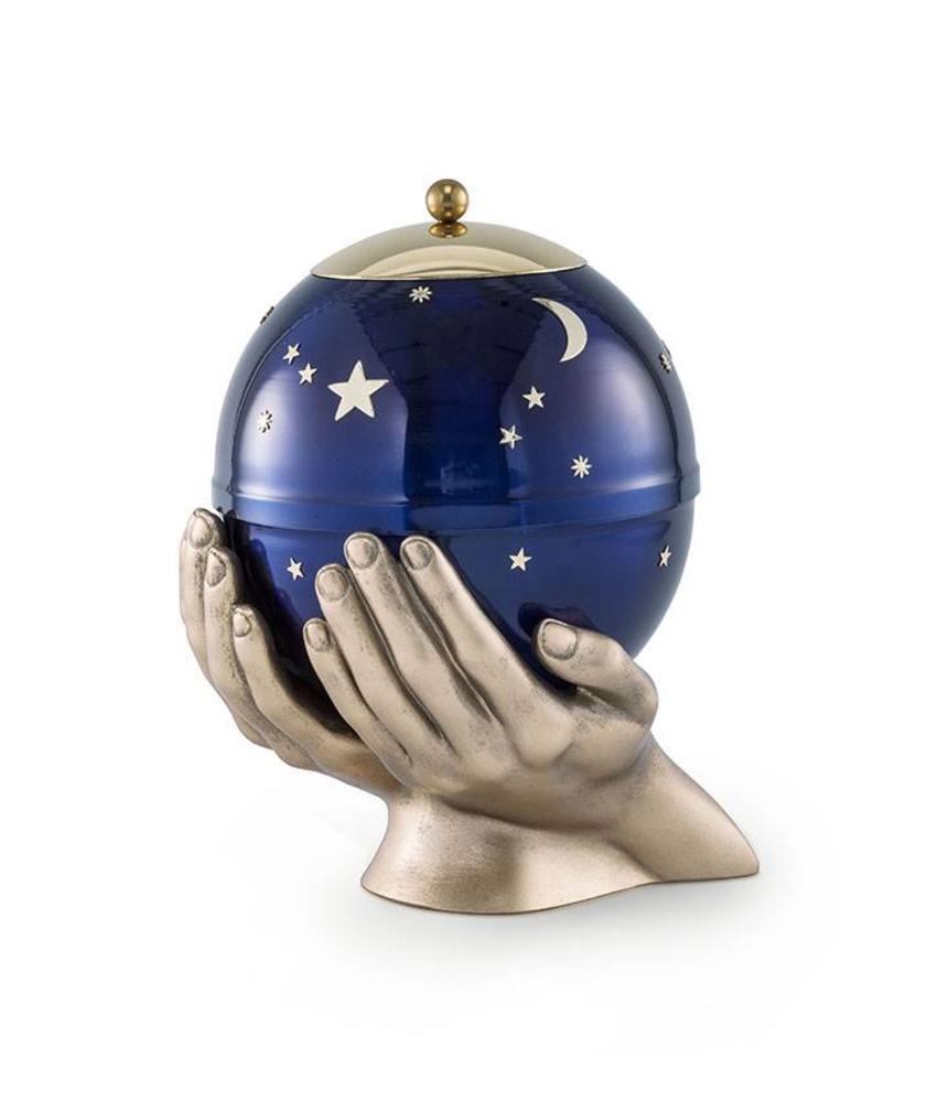 Kinder urn gedragen sterrenhemel blauw - messing