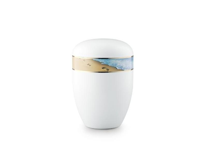 Eco urn wit voetafdruk strand - bio