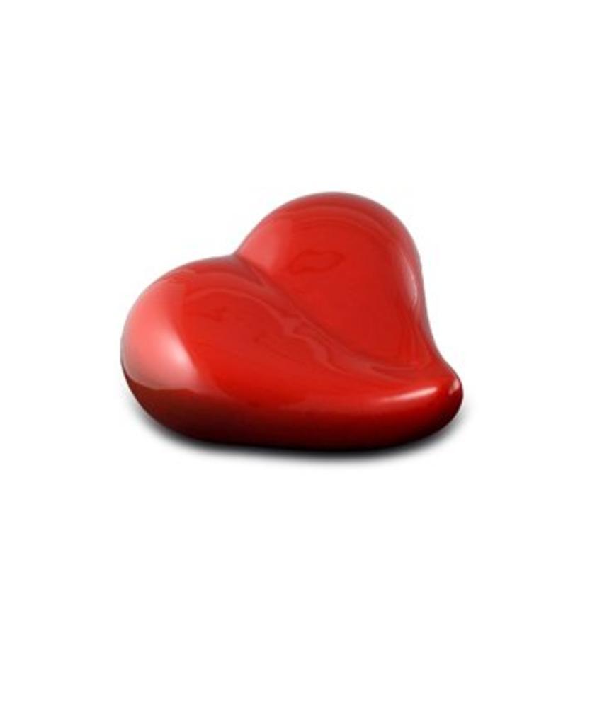 Dieren urn hart gedenk rood - keramiek