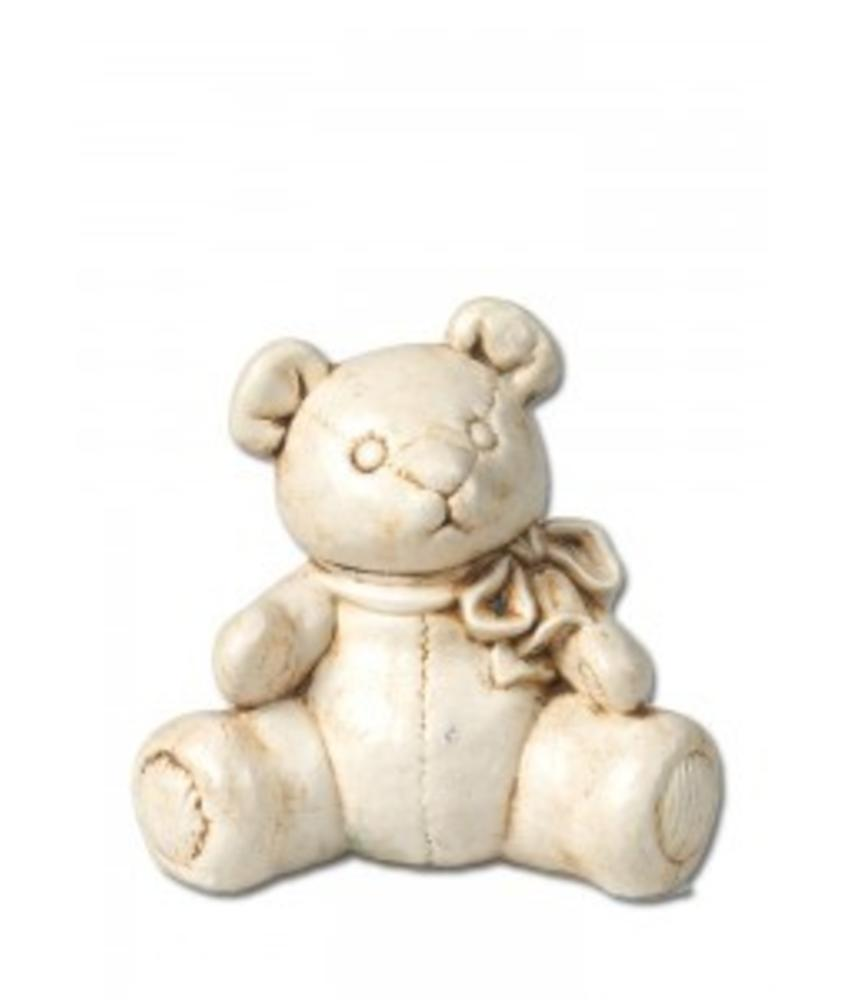 Kinder urn beer met strik naturel - keramiek