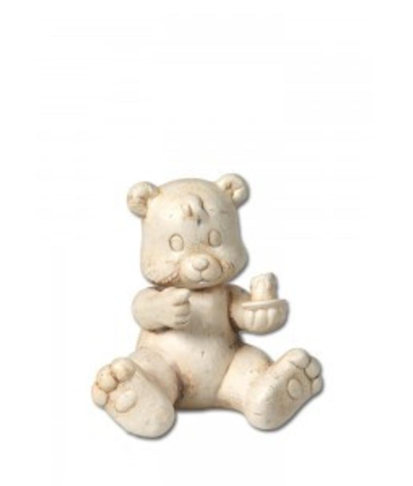 Kinder urn beer met kaars naturel - keramiek