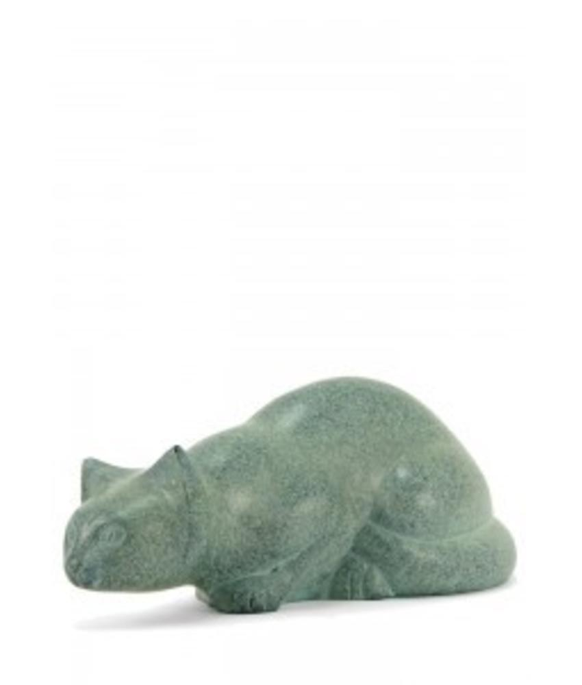 Dieren urn sluipende kat patina - koper