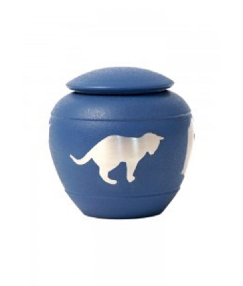 Dieren urn met kat blauw - koper