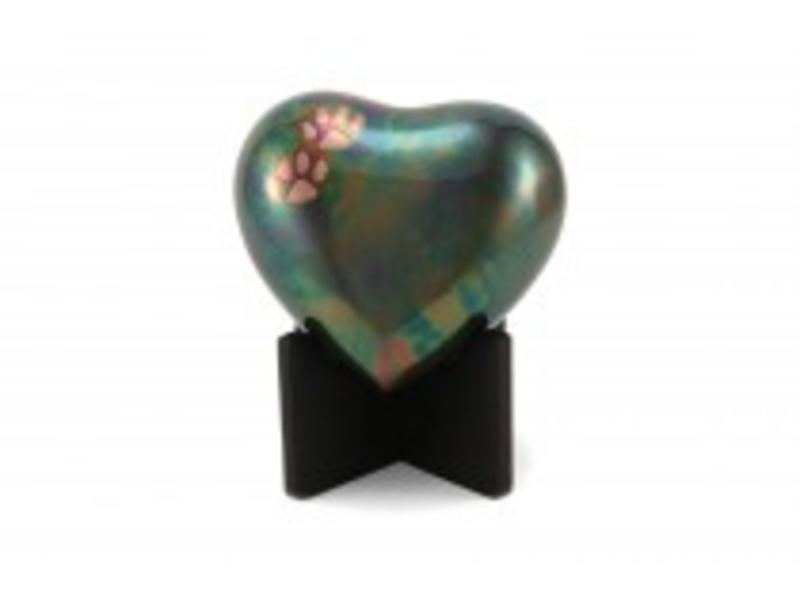 Dieren urn hart groen met pootjes - koper