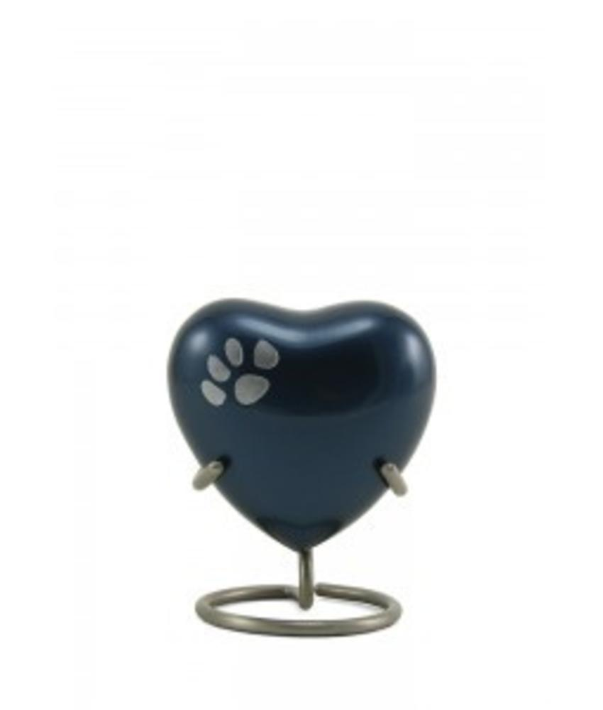 Dierenurn hartvorm moonlight odyssey met pootafdruk - koper