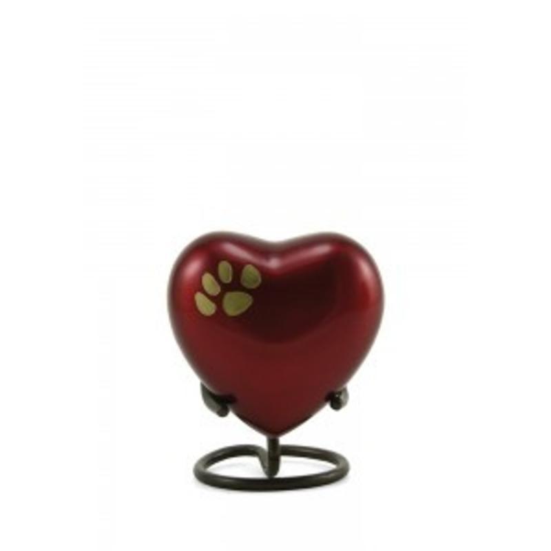 Dierenurn hartvorm crimson odyssey met pootafdruk - koper