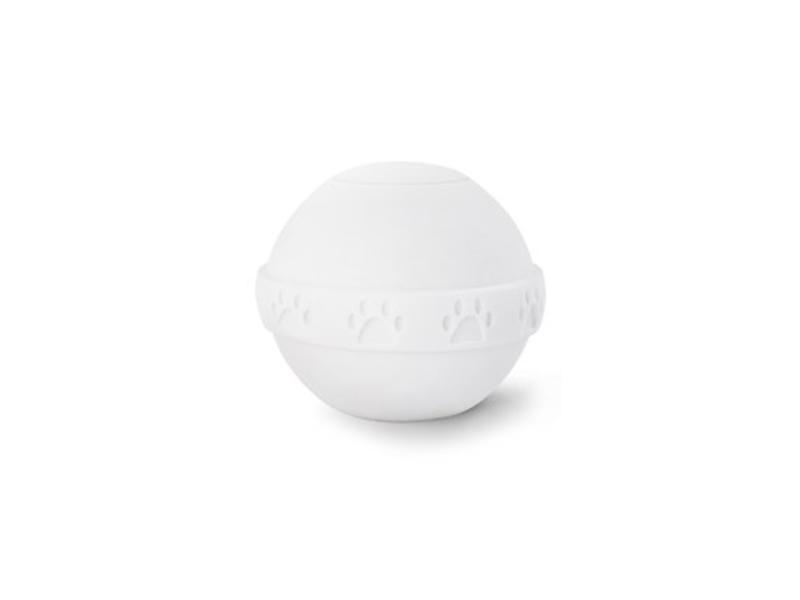 Eco dierenurn witte bol met pootafdruk - bio