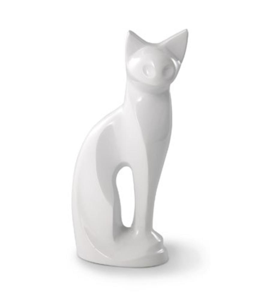 Katten urn stijlvolle witte kater - messing