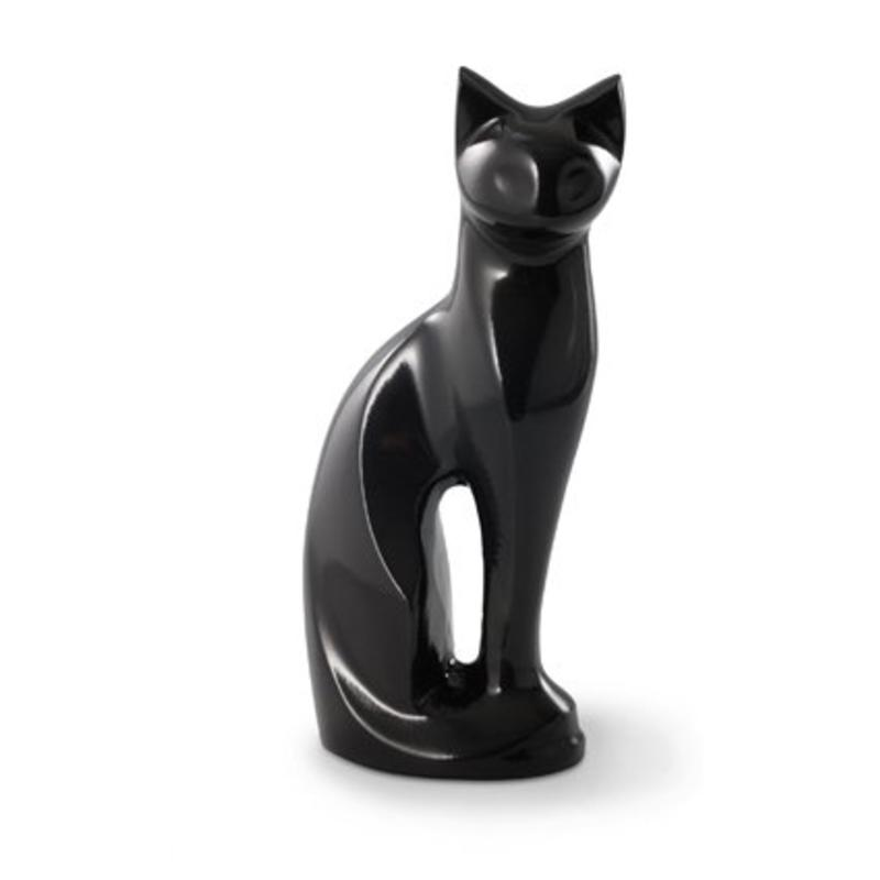 Katten urn stijlvolle zwarte kater - messing
