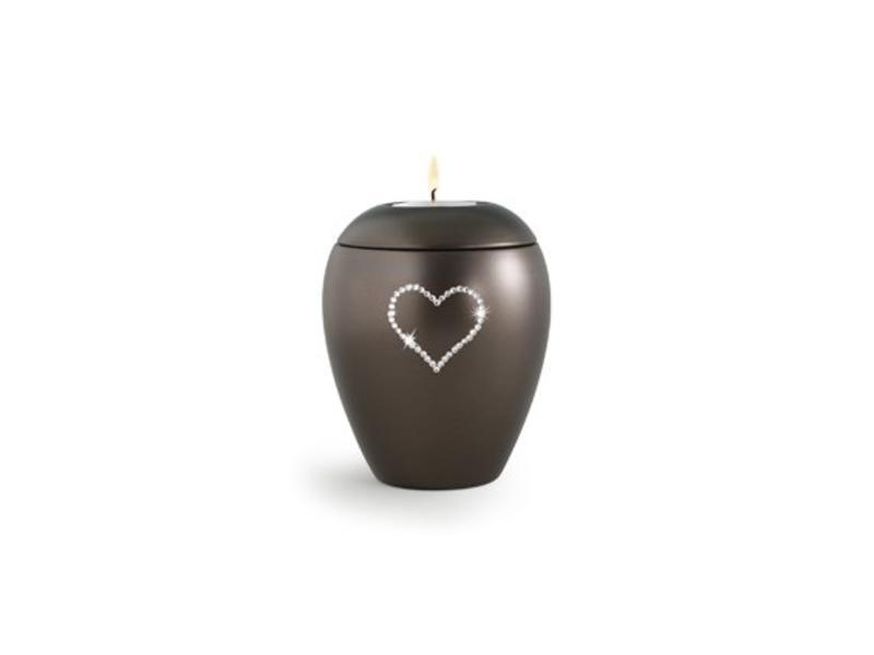 Dierenurn bruin paarlemoer swarovski hart met licht klein -keramiek