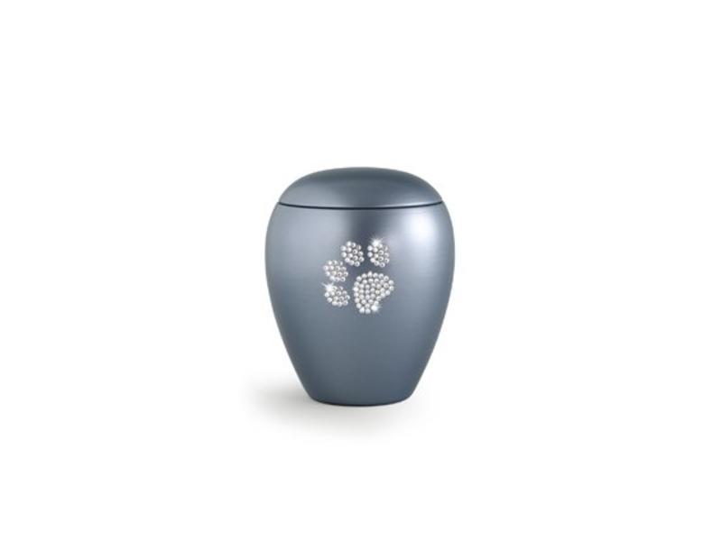 Dierenurn grijs paarlemoer swarovski pootafdruk klein - keramiek