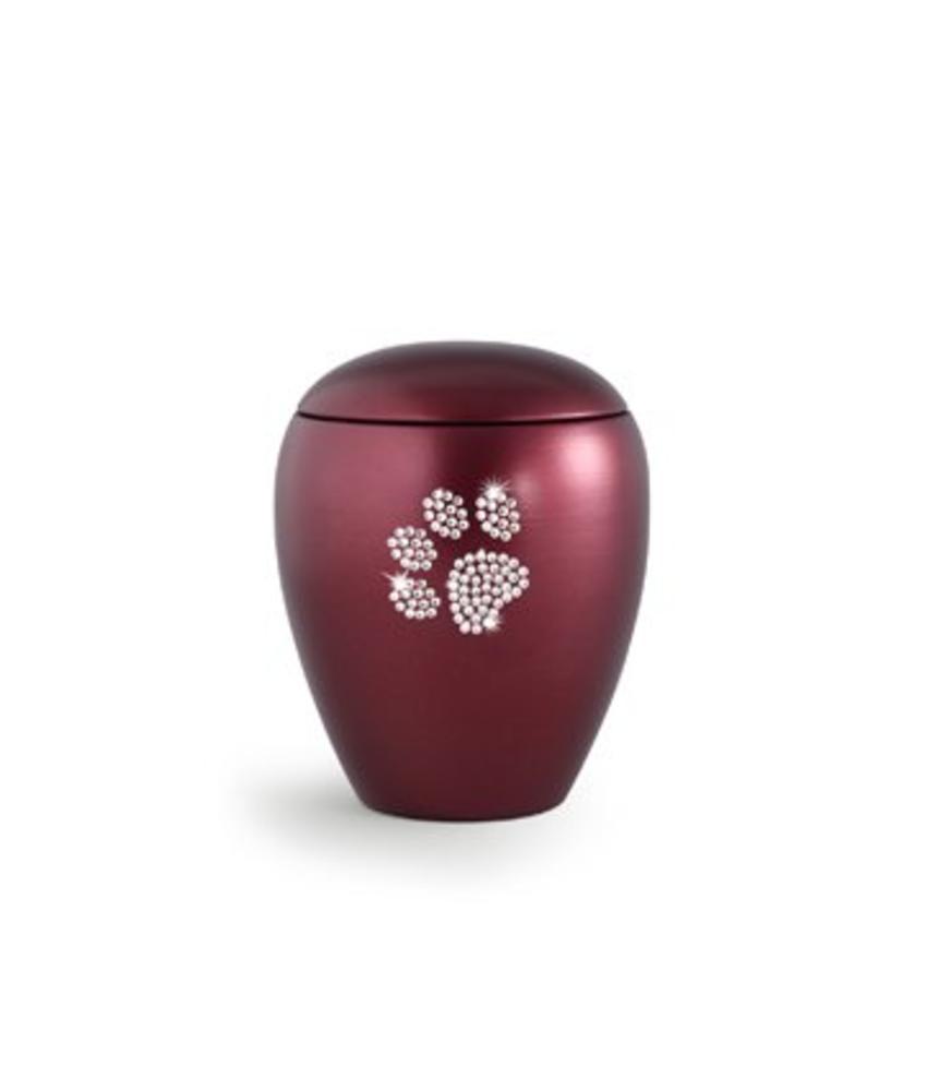 Dierenurn wijnrode paarlemoer swarovski pootafdruk klein - keramiek