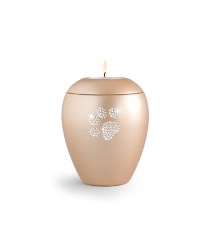 Dierenurn apricot paarlemoer swarovski pootafdruk met licht klein - keramiek