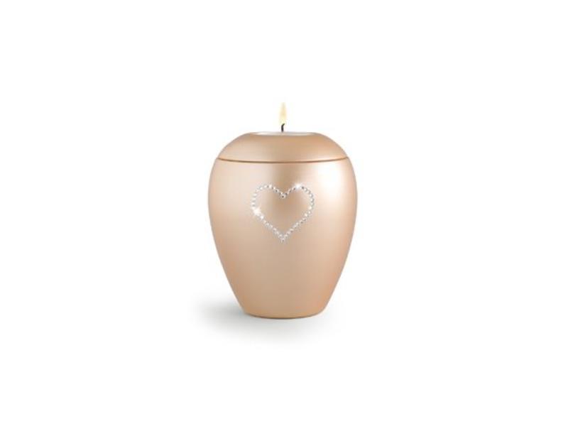 Dierenurn apricot paarlemoer swarovski hart met licht klein - keramiek