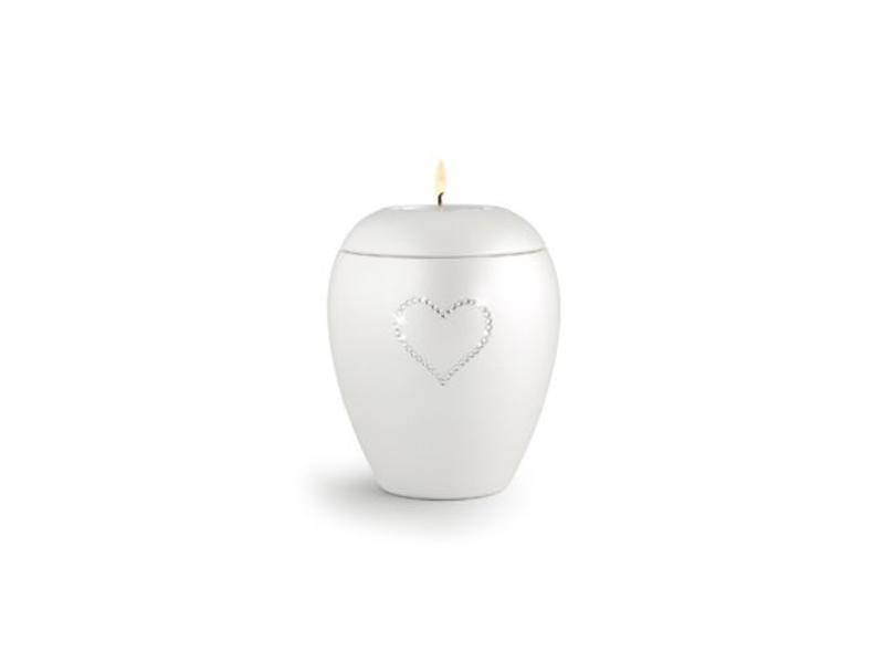 Dierenurn paarlemoer swarovski hart met licht klein - keramiek