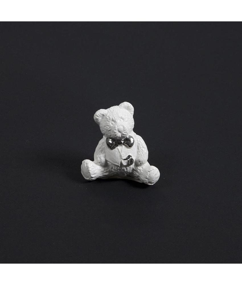 Kinder urn beer met strik wit mini - keramiek
