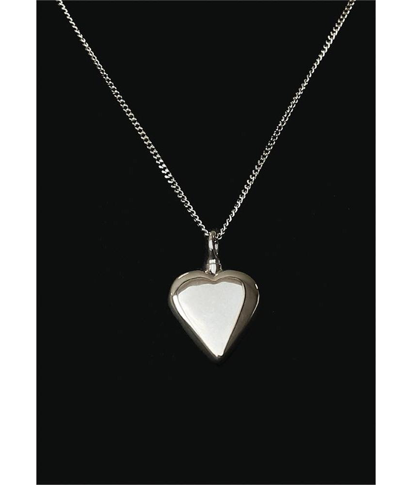 Ascollier hart incl. ketting 50 cm - zilver