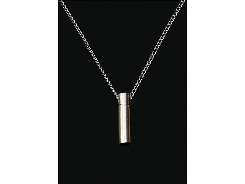 Ascollier cilinder incl. ketting 50 cm - zilver