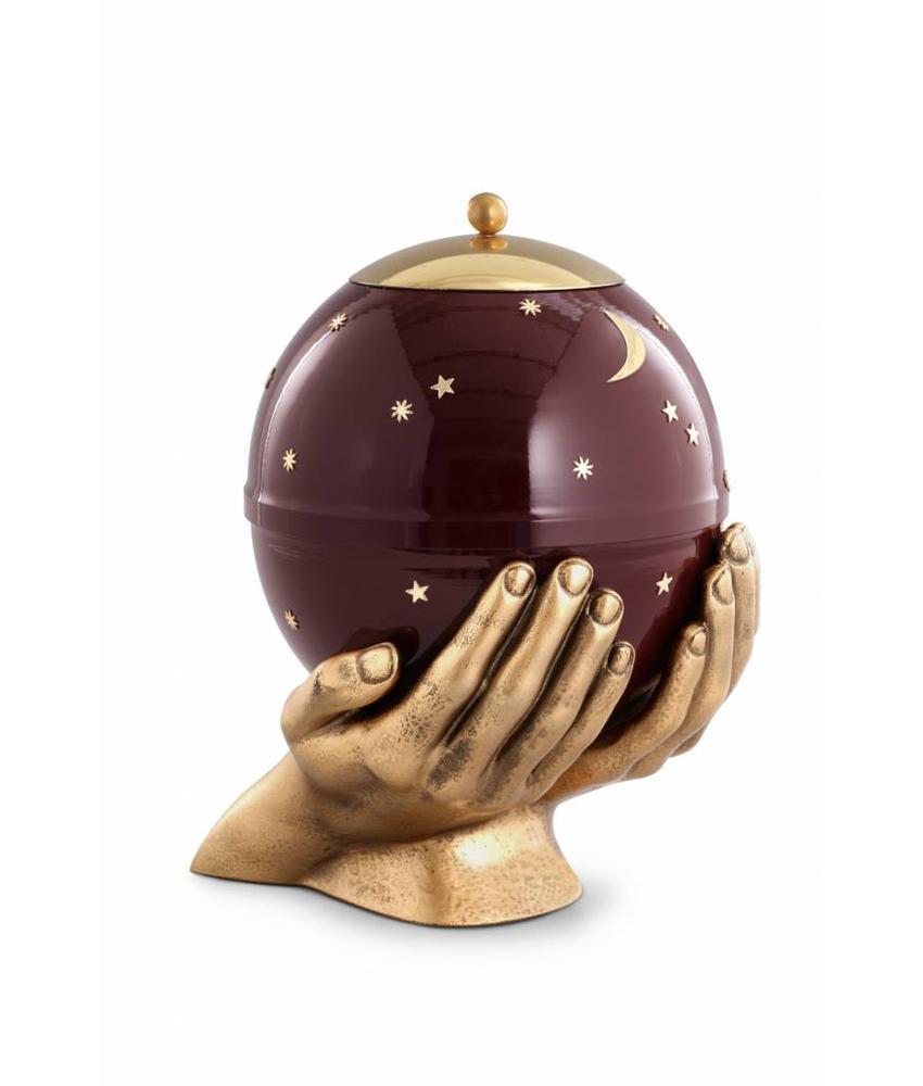 Kinder urn gedragen sterrenhemel bordeaux - messing