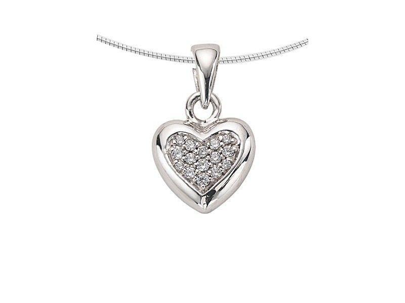 Ashanger hart klein - witgoud met diamant