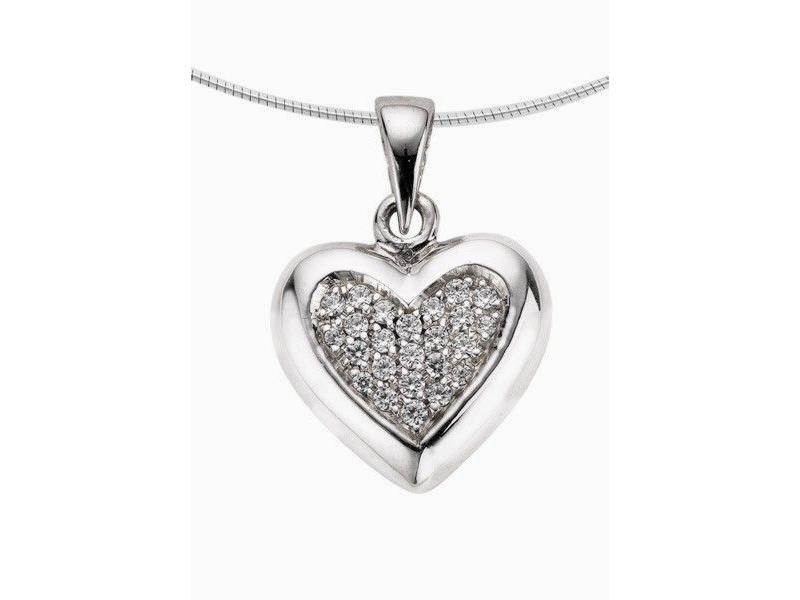 Ashanger hart medium - witgoud met diamant