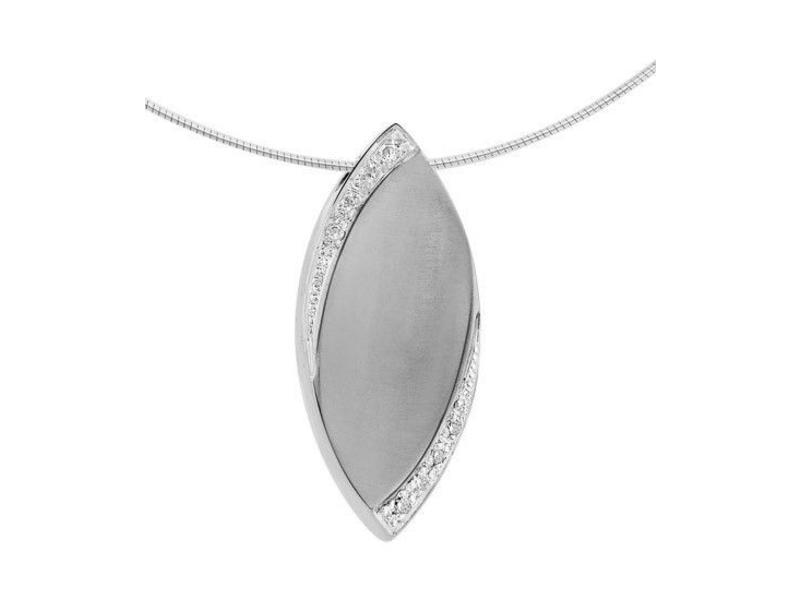 Ashanger ovaal - witgoud met diamant