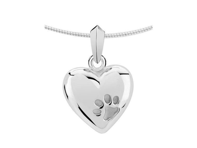 Ashanger hart met pootafdruk - zilver