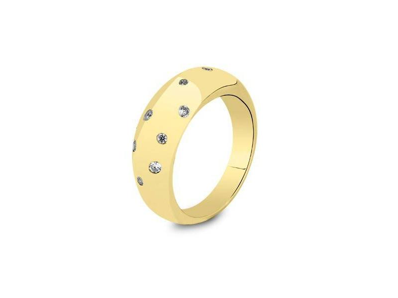 Asring rond met 9 diamanten dames - goud met diamant