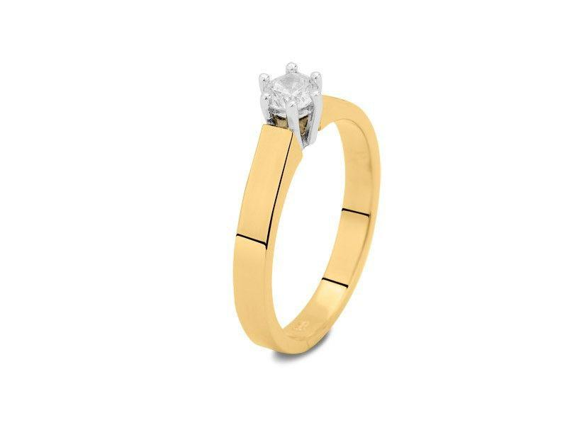 Asring dames traditioneel bicolour - goud met diamant 0.15 crt