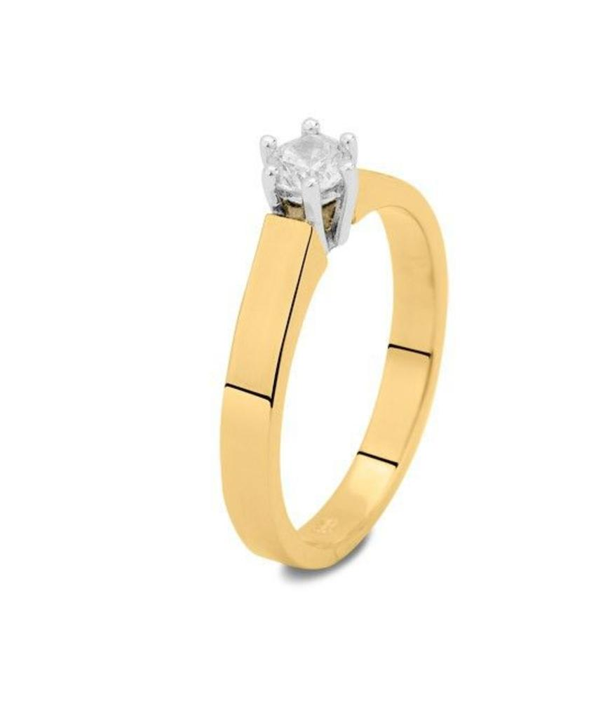 Asring dames traditioneel bicolour - goud met diamant 0.15 crt