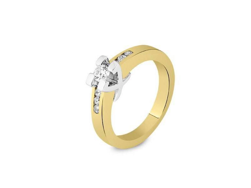 Asring dames traditioneel bicolour - goud met diamant 0.22 crt