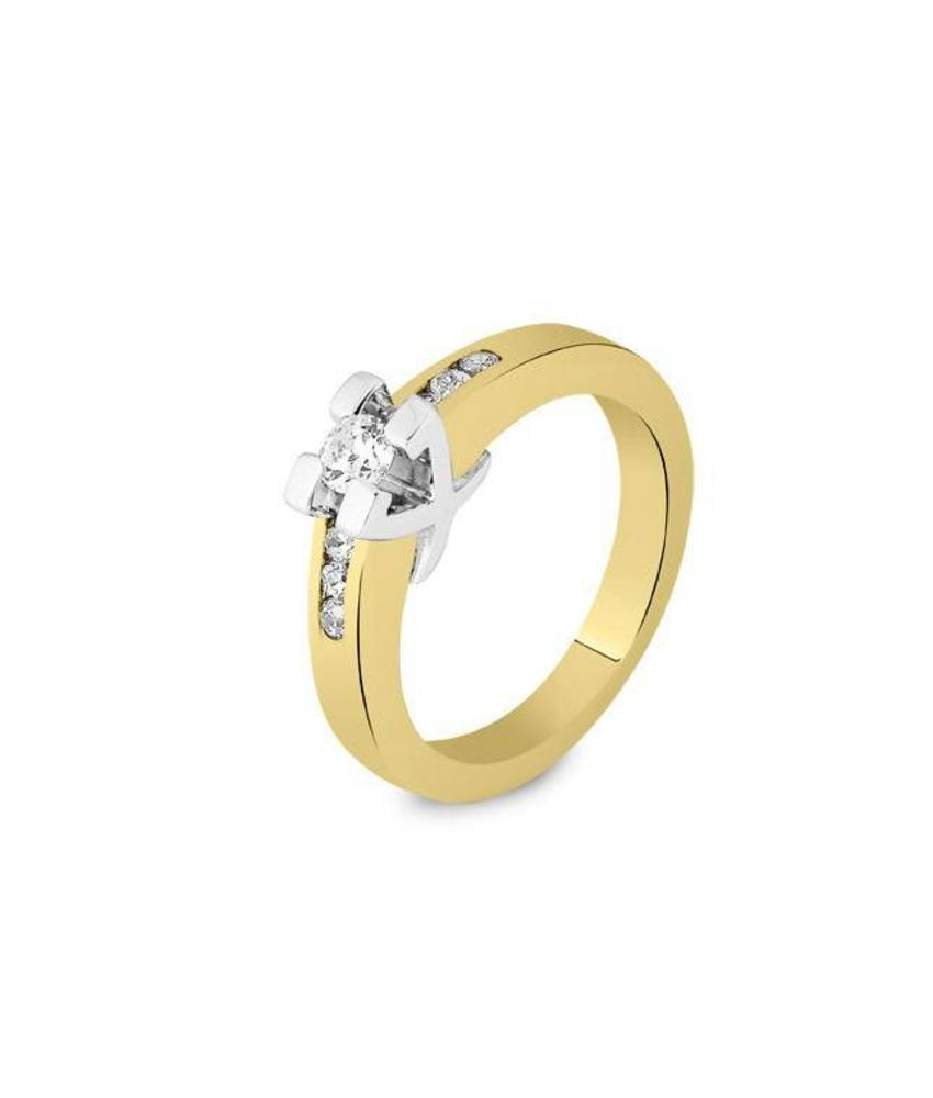 Asring dames traditioneel bicolour - goud met diamant 0.22 crt
