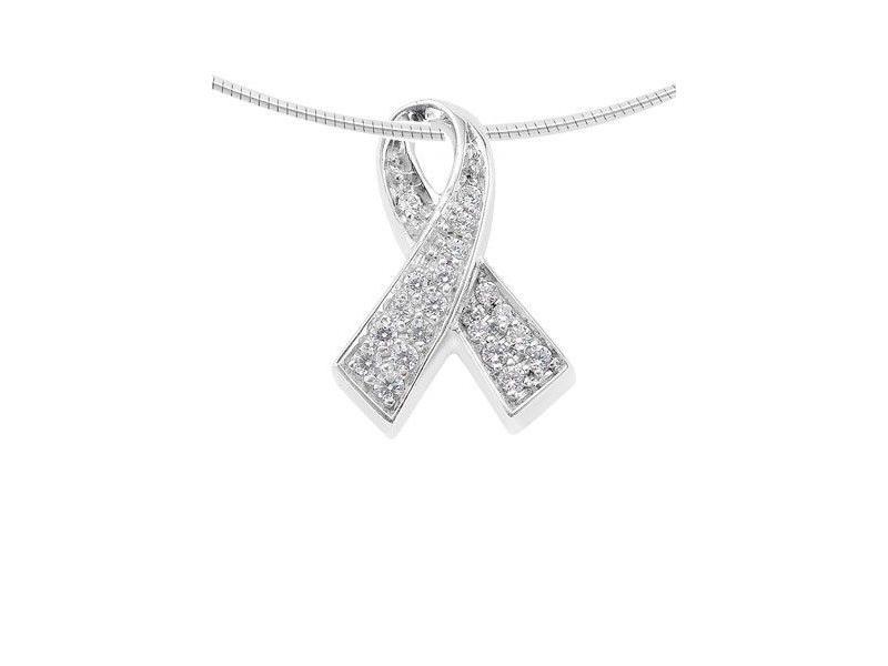 Ashanger ribbon - zilver met zirkonia