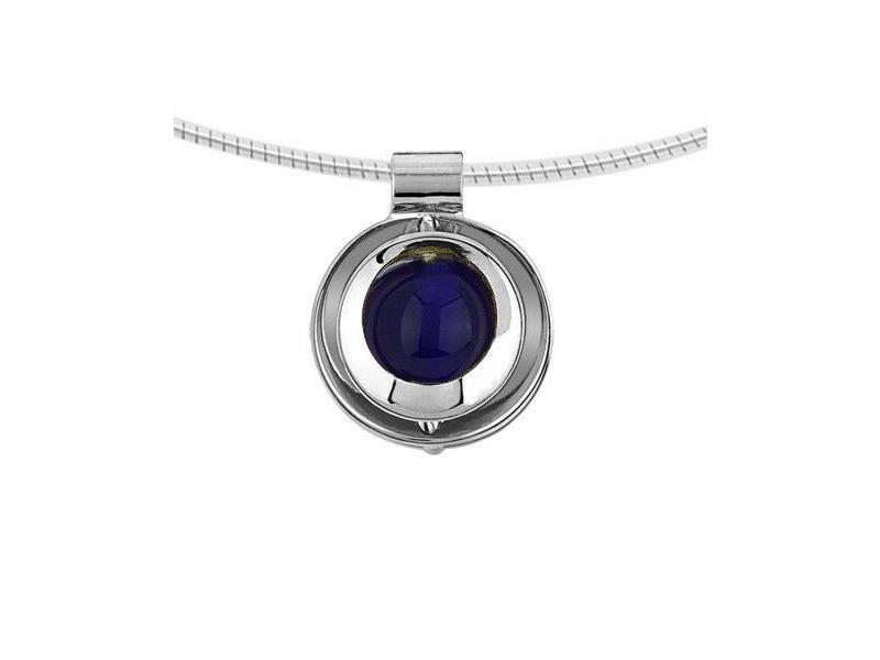Ashanger blauw glassieraad - 925 Sterling zilver