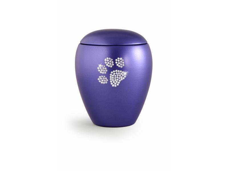 Dierenurn violet met swarovski pootafdruk groot - keramiek