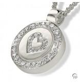 Ashanger circle heart - 925 Sterling zilver met zirkonia