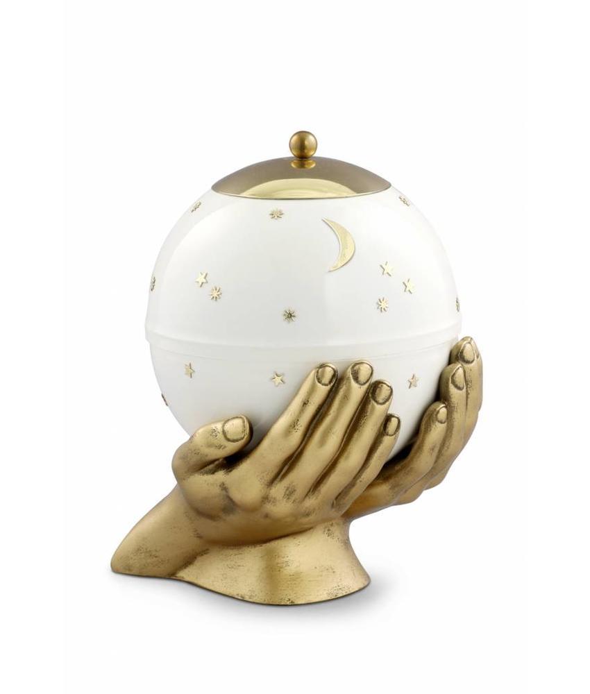 Kinder urn gedragen sterrenhemel wit - messing