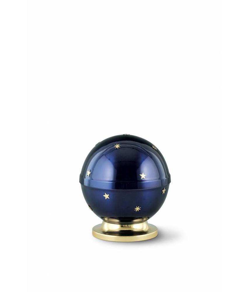 Kinder mini urn sterrenhemel kobaltblauw - messing