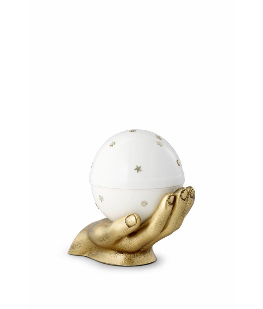 kinder mini urn gedragen sterrenhemel wit - messing