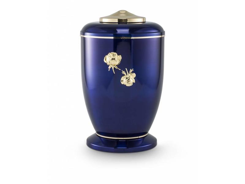 Blauwe rozen urn - staal