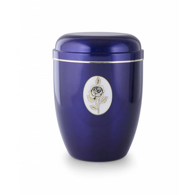 Blauwe rozen embleem urn - staal