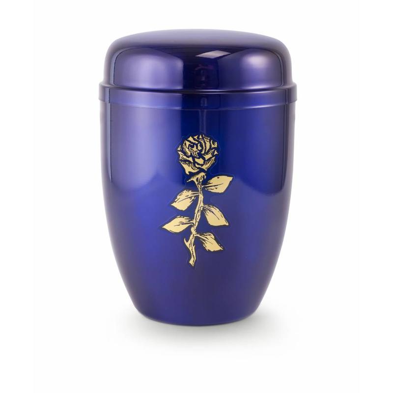 Bokaal urn blauw met roos - staal