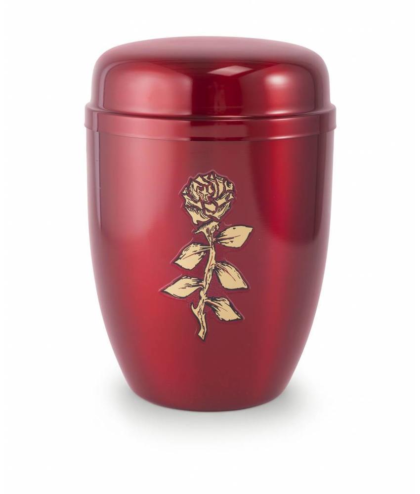 Bokaal urn rood met roos - staal