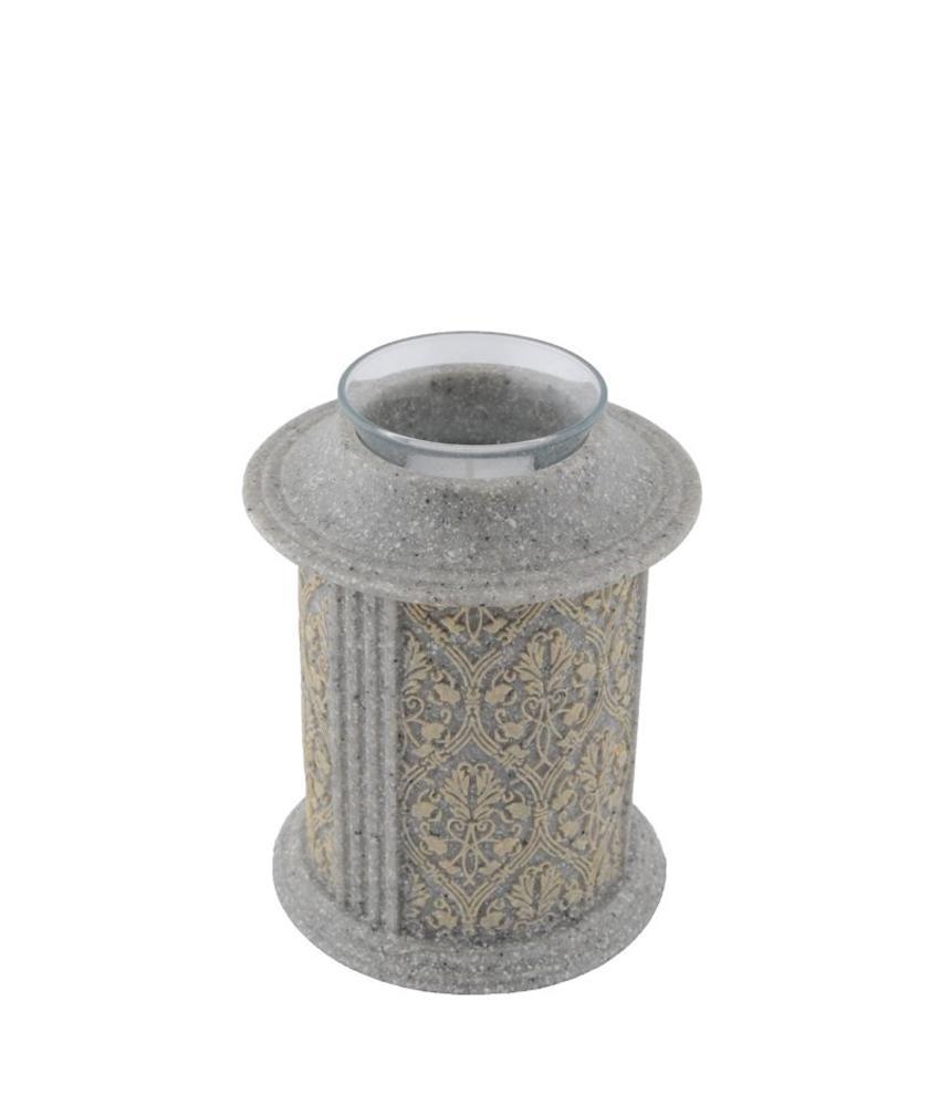 Filigree kandelaar mini urn steenkleur - polyresin