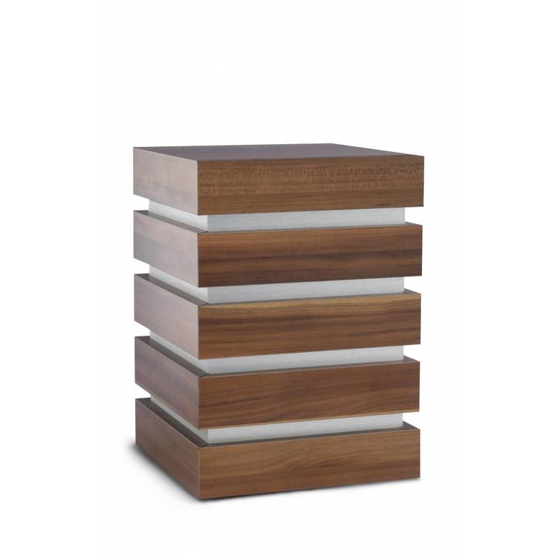 Decoratieve kubus urn walnoot - hout