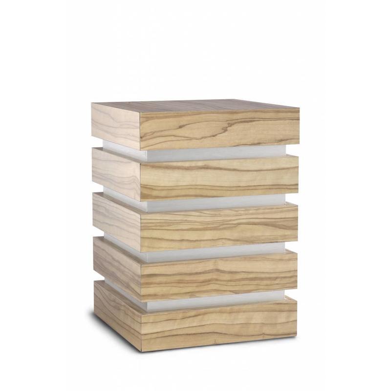 Decoratieve kubus urn naturel - hout