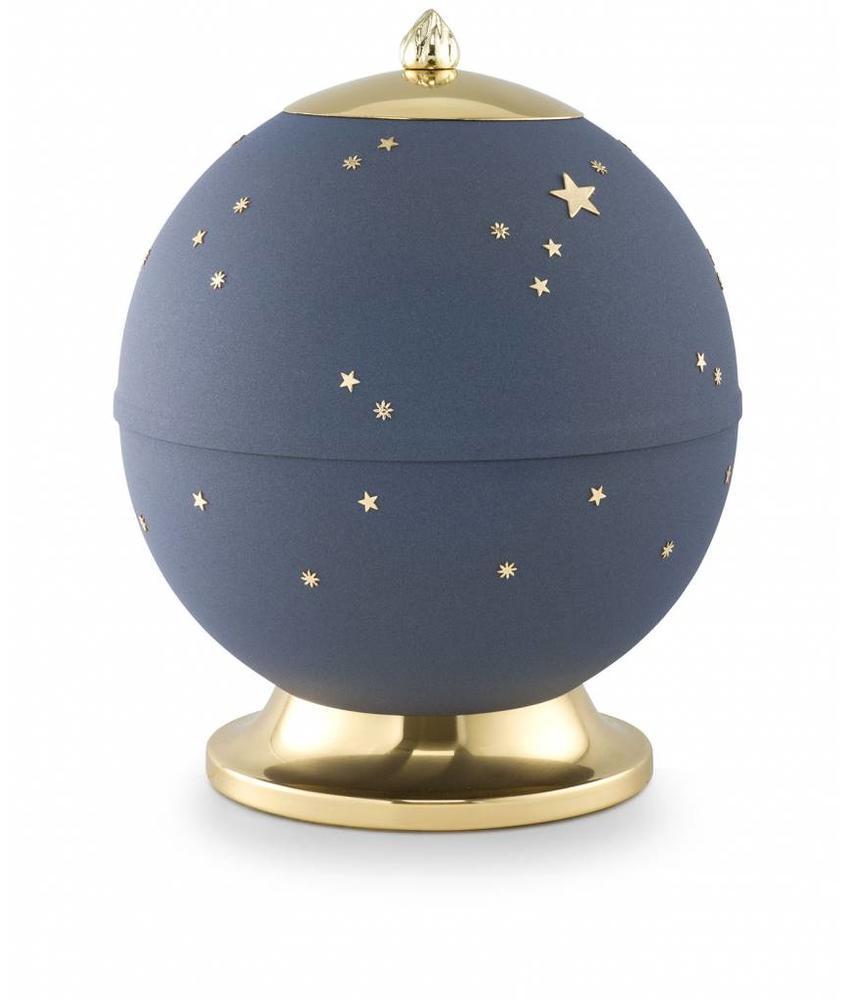 Maan en sterren matblauw - messing