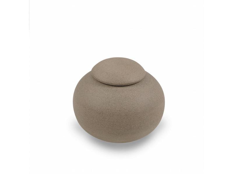 Keramische urn bol klein naturel - bruingrijs
