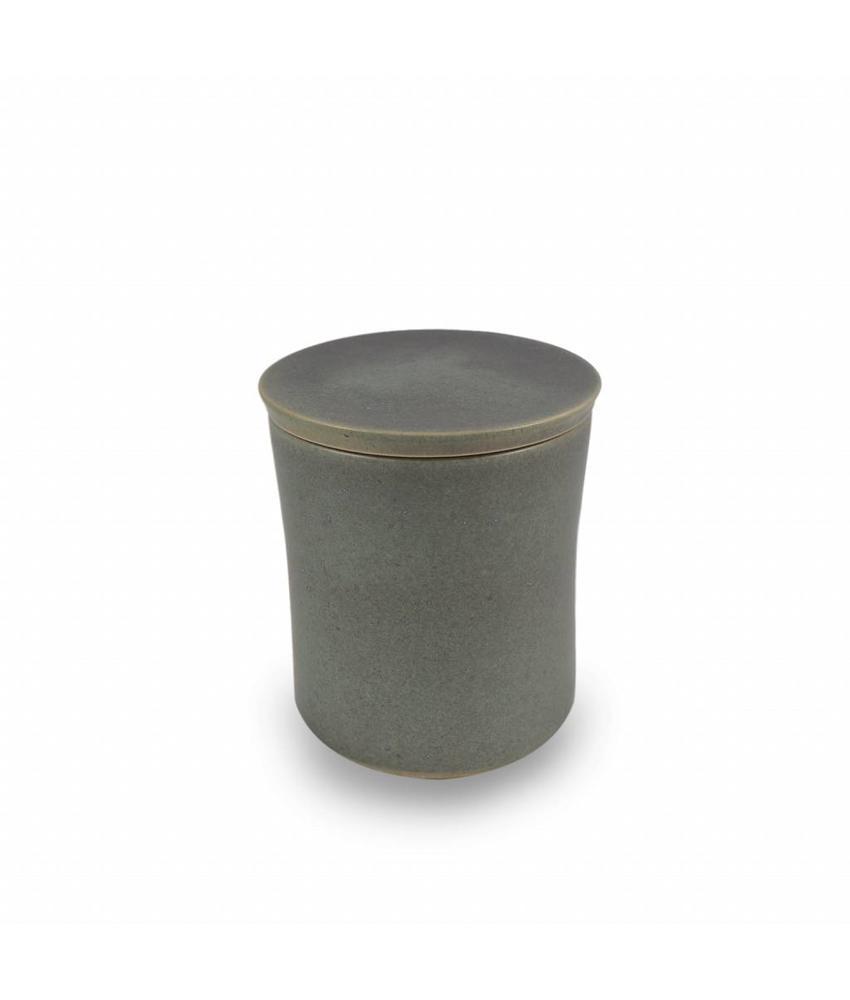 Keramische urn getailleerd klein patinagroen