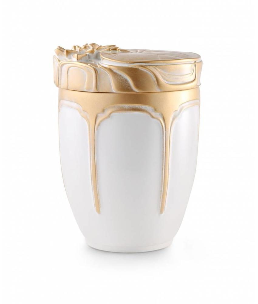 Gouden waterlelie urn - Keramiek